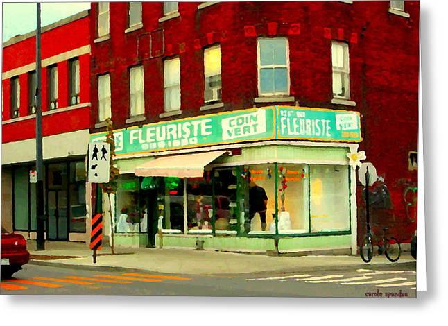 Coin Vert Greeting Cards - Boutique Fleuriste Coin Vert St Henri Flower Shop Notre Dame Montreal Urban Scenes Carole Spandau  Greeting Card by Carole Spandau