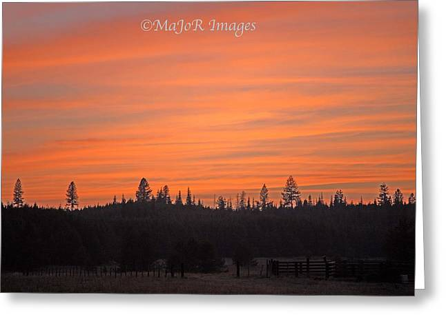 Ranch Greeting Cards - Bovill Ranch Sunset Greeting Card by MaJoR  Images