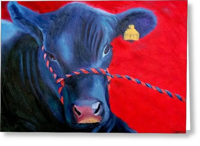 Angus Steer Paintings Greeting Cards - Bovine Intervention Greeting Card by Lisa Lea Bemish