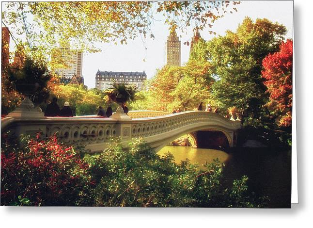 Autumn Landscape Photographs Greeting Cards - Bow Bridge - Autumn - Central Park Greeting Card by Vivienne Gucwa