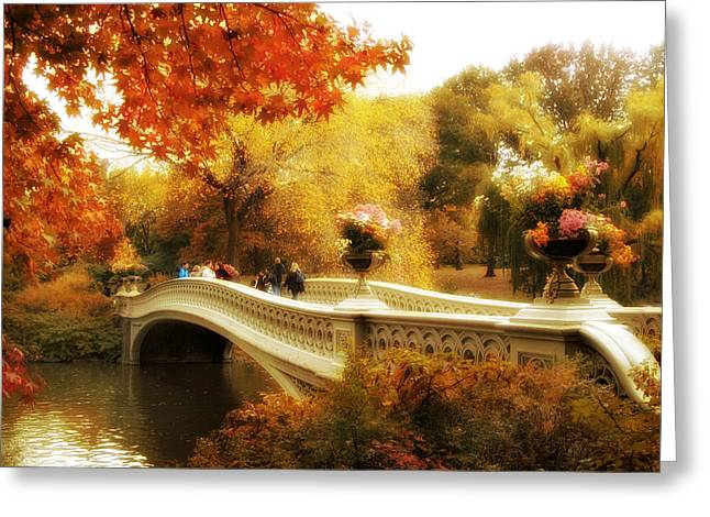 Fall Trees Greeting Cards - Bow Bridge Autumn Greeting Card by Jessica Jenney