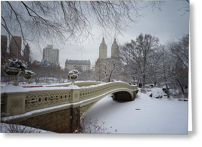 Snowfall Greeting Cards - Bow Bridge Central Park in Winter  Greeting Card by Vivienne Gucwa