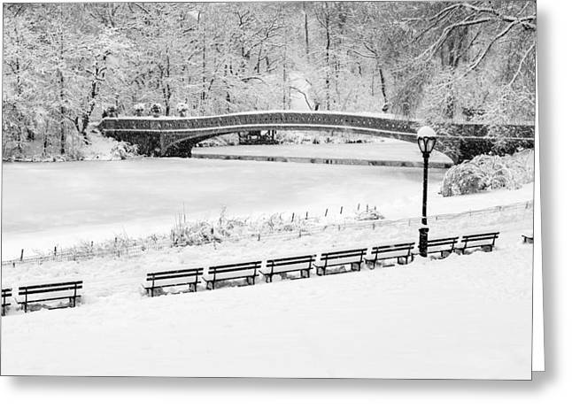 Bow Bridge Greeting Cards - Bow Bridge Central Park Winter Wonderland BW Greeting Card by Susan Candelario