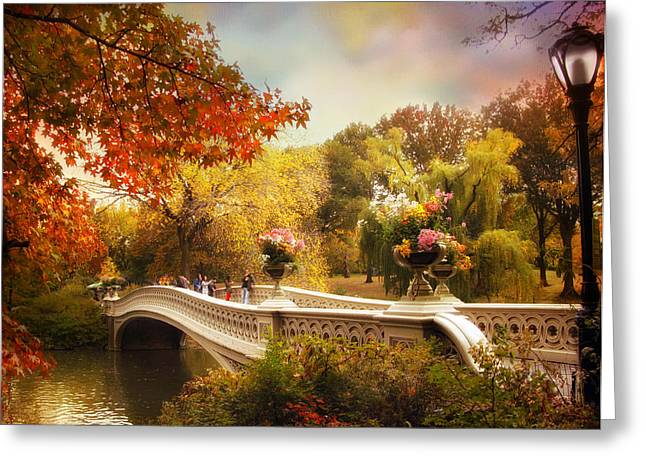 Bow Bridge Greeting Cards - Bow Bridge Crossing Greeting Card by Jessica Jenney