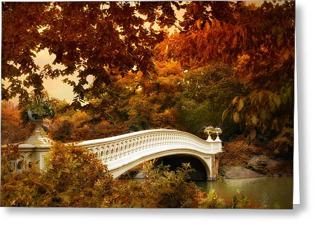 City Garden Greeting Cards - Bow Bridge Fall Fantasy Greeting Card by Jessica Jenney