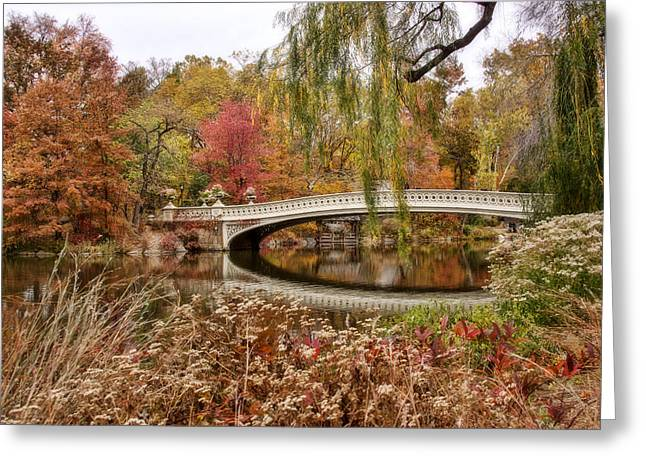 Bow Bridge Greeting Cards - Bow Bridge in Autumn Greeting Card by June Marie Sobrito