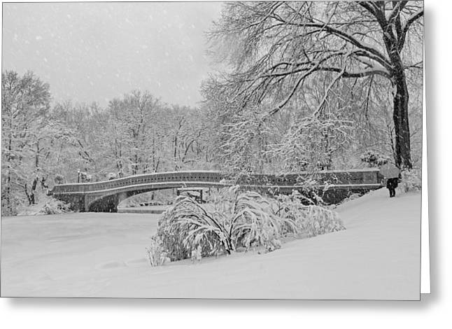 Bow Bridge Greeting Cards - Bow Bridge In Central Park During Snowstorm BW Greeting Card by Susan Candelario