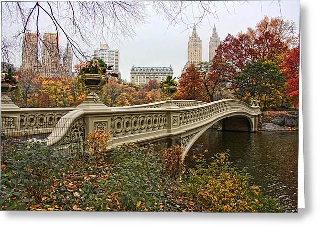 Bow Greeting Cards - Bow Bridge In Central Park Greeting Card by June Marie Sobrito
