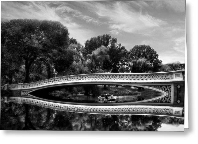 Bow Bridge Greeting Cards - Bow Bridge in Monochrome Greeting Card by Jessica Jenney