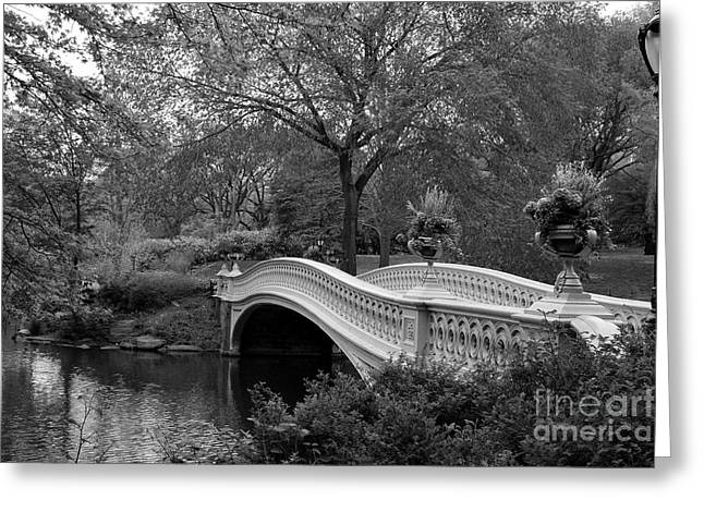 Bow Bridge Nyc In Black And White Greeting Card by Christiane Schulze Art And Photography