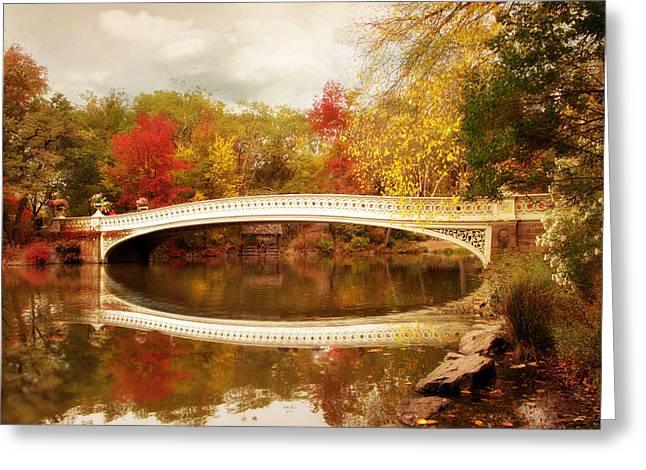 Footbridge Greeting Cards - Bow Bridge Reflected Greeting Card by Jessica Jenney