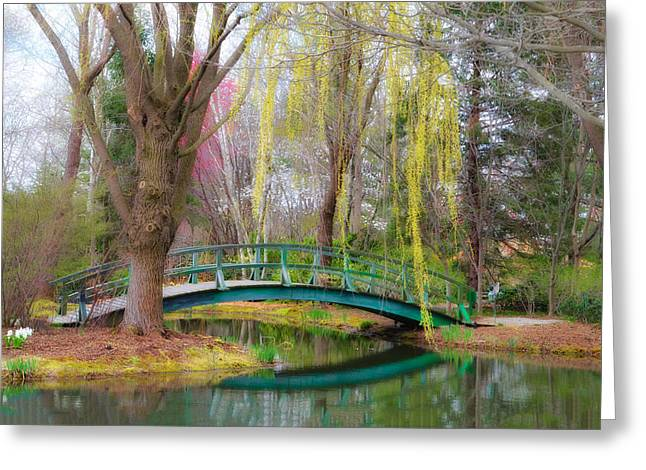 Bow Bridge Greeting Cards - Bow Bridge under the Willow Greeting Card by Bill Cannon