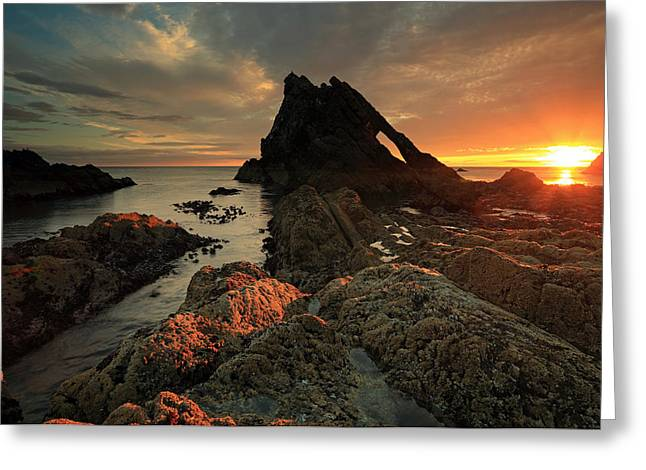 North Sea Greeting Cards - Bow Fiddle rock sunrise Greeting Card by Grant Glendinning