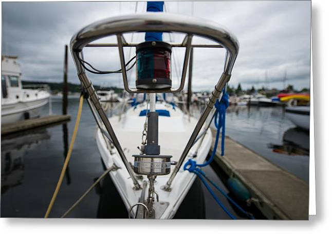 Sailboats Docked Greeting Cards - Bow Greeting Card by Kyle David Cozzens