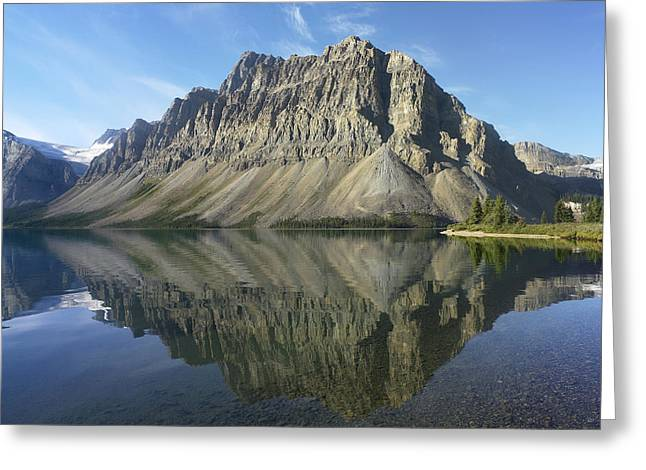 Rocky Mountains Greeting Cards - Bow Lake And Crowfoot Mts Banff Greeting Card by Tim Fitzharris