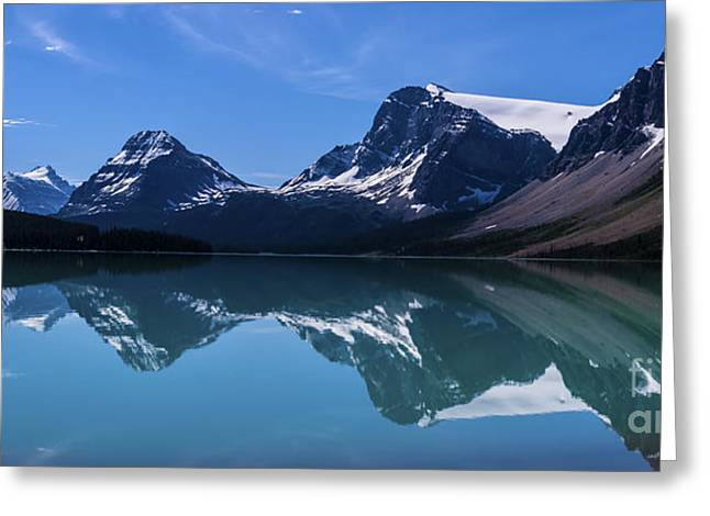 Bow Lake Reflecting Greeting Card by Scotts Scapes
