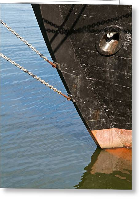 Wooden Ship Photographs Greeting Cards - Bow Greeting Card by Odd Jeppesen