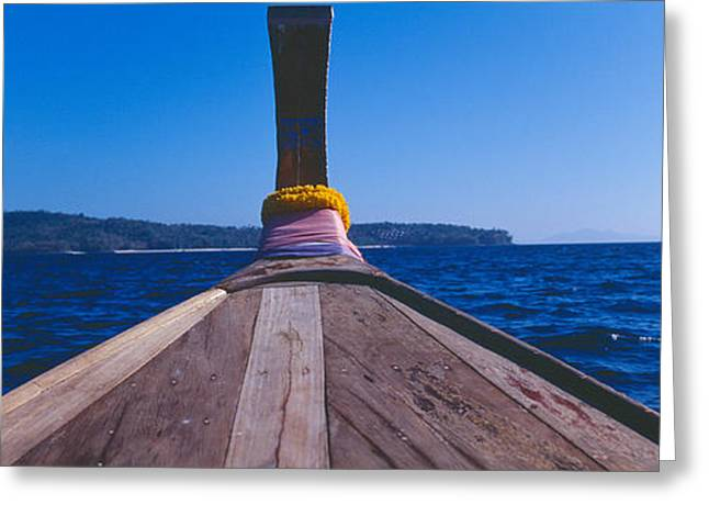 Fishing Boats Greeting Cards - Bow Of A Fishing Boat In The Sea Greeting Card by Panoramic Images