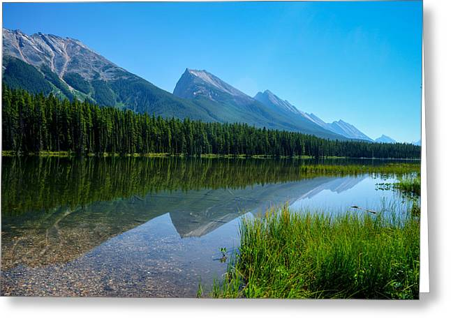 Rill Greeting Cards - Bow River and Mountain Range Alberta Greeting Card by Douglas Barnett