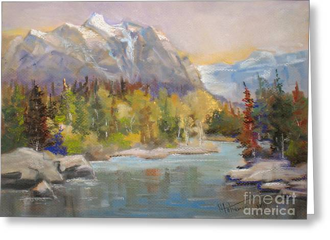 Reserve Paintings Greeting Cards - Bow River  Banff Greeting Card by Mohamed Hirji