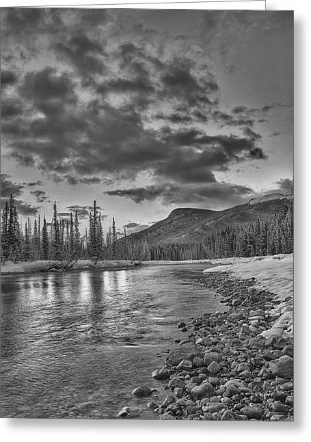 Exibition Greeting Cards - Bow River in Banff National Park Greeting Card by Purvesh Trivedi