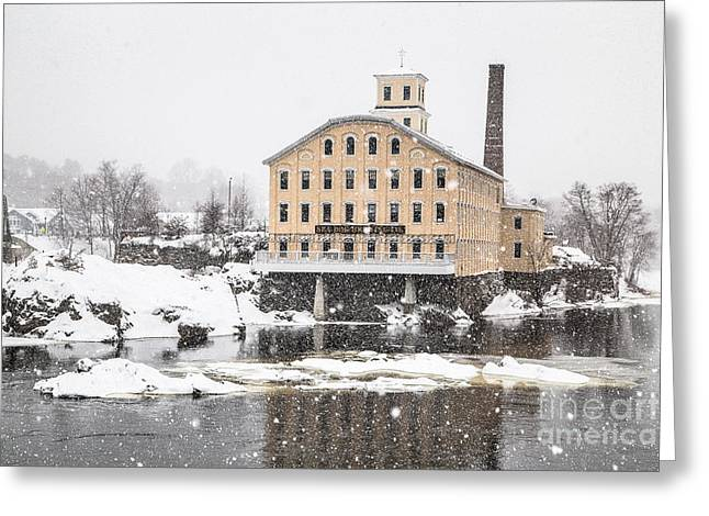 Androscoggin Greeting Cards - Bowdoin Mill in Heavy Snow Greeting Card by Benjamin Williamson