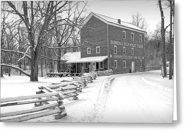 Split Rail Fence Greeting Cards - Bowens Mill in Winter Greeting Card by Randall Nyhof