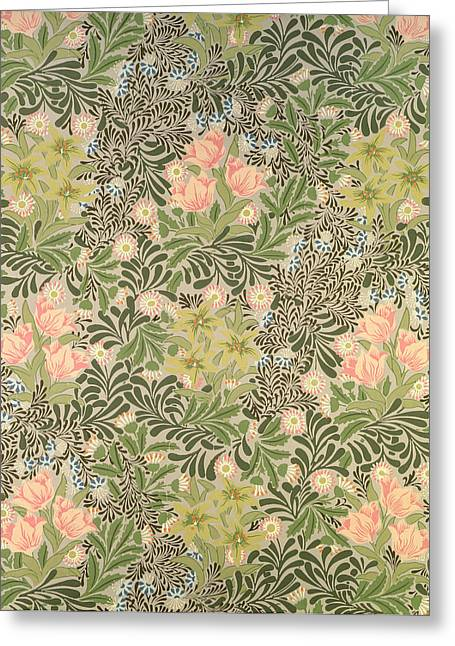 Picture Tapestries - Textiles Greeting Cards - Bower design Greeting Card by William Morris
