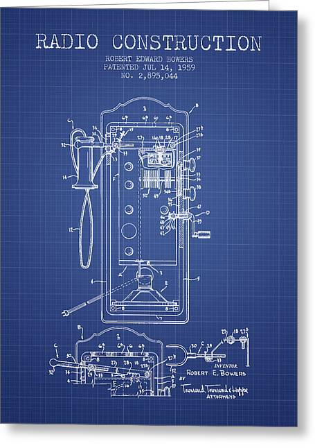 Vintage Radio Greeting Cards - Bowers Radio Construction Patent From 1959 - Blueprint Greeting Card by Aged Pixel