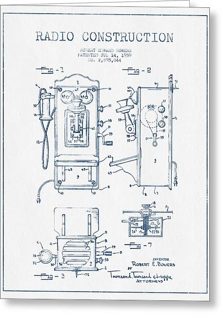 Vintage Radio Greeting Cards - Bowers Radio Patent Drawing From 1959 - Blue Ink Greeting Card by Aged Pixel