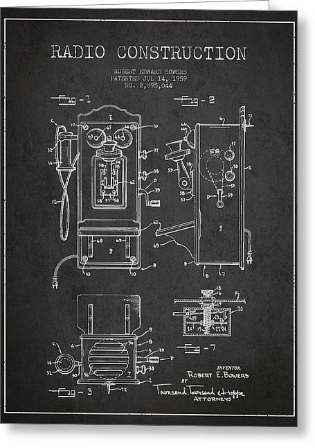 Vintage Radio Greeting Cards - Bowers Radio Patent Drawing From 1959 - Dark Greeting Card by Aged Pixel