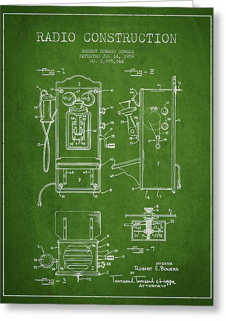 Vintage Radio Greeting Cards - Bowers Radio Patent Drawing From 1959 - Green Greeting Card by Aged Pixel