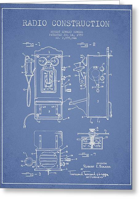 Vintage Radio Greeting Cards - Bowers Radio Patent Drawing From 1959 - Light Blue Greeting Card by Aged Pixel
