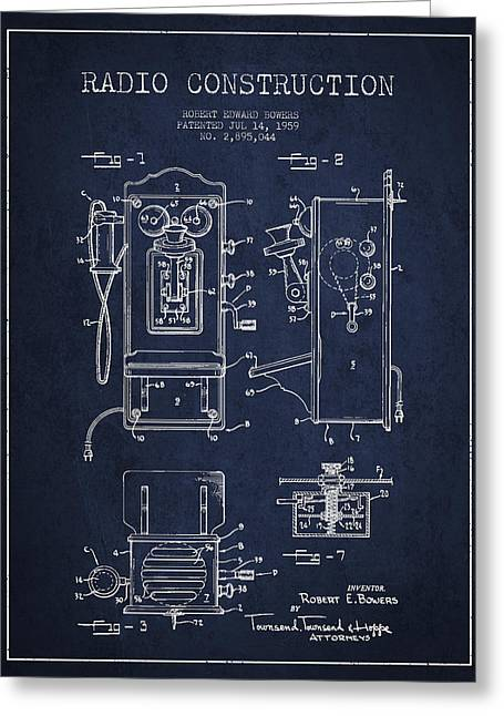 Vintage Radio Greeting Cards - Bowers Radio Patent Drawing From 1959 - Navy Blue Greeting Card by Aged Pixel
