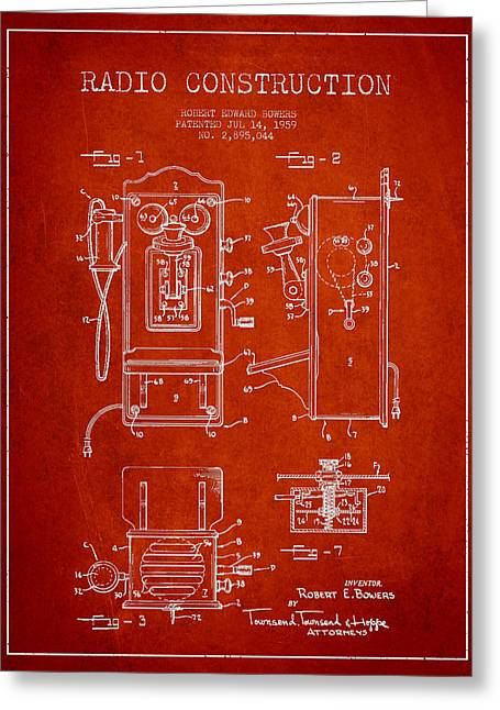 Vintage Radio Greeting Cards - Bowers Radio Patent Drawing From 1959 - Red Greeting Card by Aged Pixel