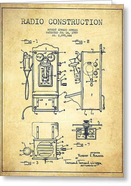 Vintage Radio Greeting Cards - Bowers Radio Patent Drawing From 1959 - Vintage Greeting Card by Aged Pixel