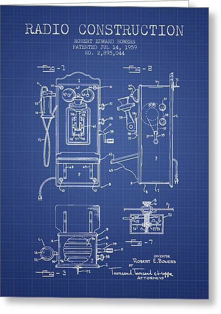Vintage Radio Greeting Cards - Bowers Radio Patent From 1959 - Blueprint Greeting Card by Aged Pixel