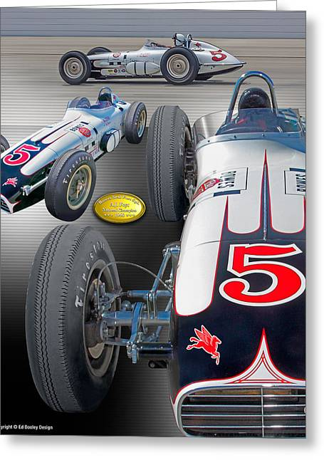 Indy Car Greeting Cards - Bowes Seal Fast Foyt 1960 Greeting Card by Ed Dooley