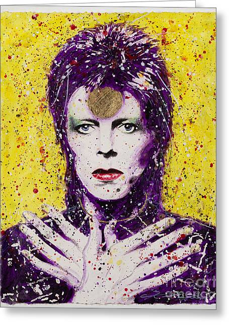 Ziggy Stardust Greeting Cards - Bowie Greeting Card by Chris Mackie