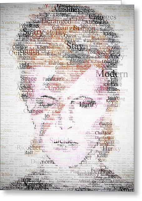 Cafe Digital Art Greeting Cards - Bowie Typo Greeting Card by Taylan Soyturk