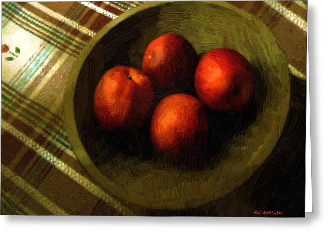 Wooden Bowls Digital Art Greeting Cards - Bowl Full of Red Greeting Card by RC DeWinter