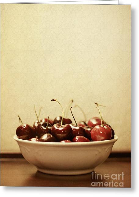 Wall Table Greeting Cards - Bowl o Cherries  Greeting Card by Trish Mistric