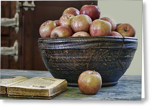 Wooden Bowl Greeting Cards - Bowl of Apples Greeting Card by Nikolyn McDonald
