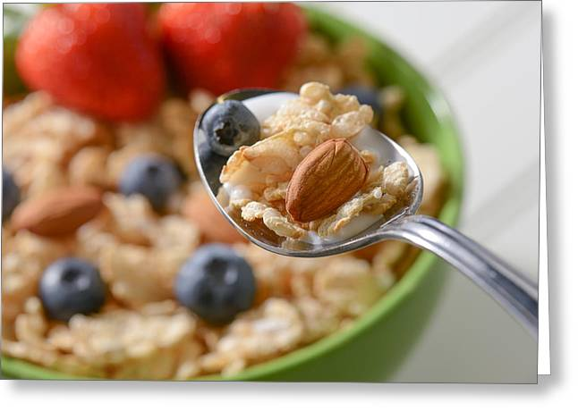 Granola Greeting Cards - Bowl of Cereal Greeting Card by Brandon Bourdages