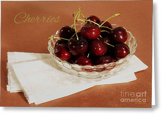 With Text Greeting Cards - Bowl of Cherries with Text Greeting Card by Iris Richardson