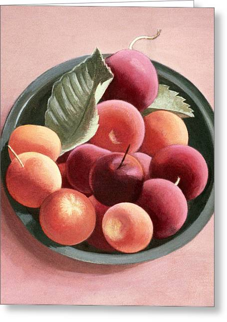 Apricots Paintings Greeting Cards - Bowl of Fruit Greeting Card by Tomar Levine