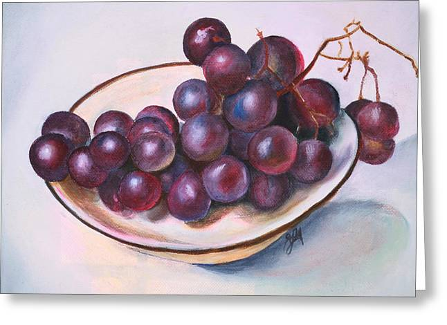 Bowl Of Grapes Greeting Card by Jane Autry