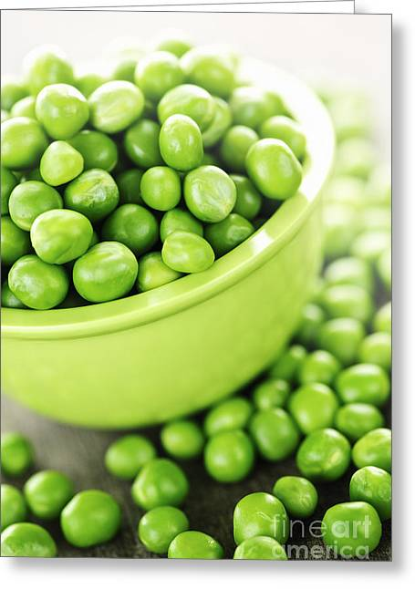 Produce Greeting Cards - Bowl of green peas Greeting Card by Elena Elisseeva