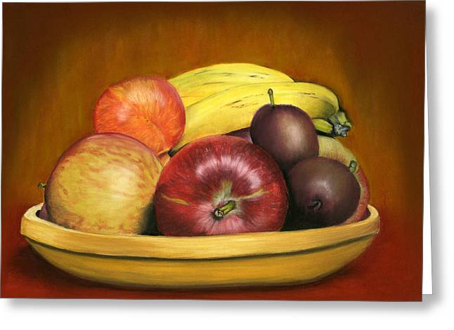 Food And Beverage Pastels Greeting Cards - Bowl of Mixed Fruit Greeting Card by Sarah Dowson