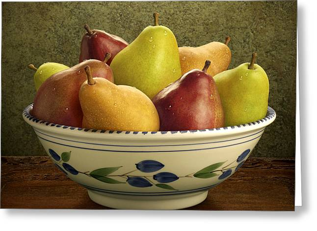 Bosc Greeting Cards - Bowl of Mixed Pears Greeting Card by Danny Smythe